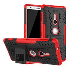 Silikon Hülle Handyhülle und Kunststoff Schutzhülle Tasche mit Ständer für Sony Xperia XZ2 Rot
