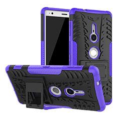 Silikon Hülle Handyhülle und Kunststoff Schutzhülle Tasche mit Ständer für Sony Xperia XZ2 Violett