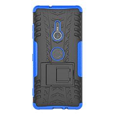 Silikon Hülle Handyhülle und Kunststoff Schutzhülle Tasche mit Ständer für Sony Xperia XZ3 Blau