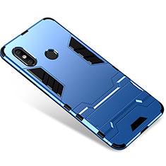 Silikon Hülle Handyhülle und Kunststoff Schutzhülle Tasche mit Ständer für Xiaomi Mi 8 Blau