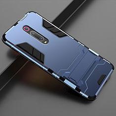 Silikon Hülle Handyhülle und Kunststoff Schutzhülle Tasche mit Ständer für Xiaomi Mi 9T Pro Blau
