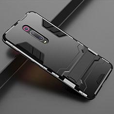 Silikon Hülle Handyhülle und Kunststoff Schutzhülle Tasche mit Ständer für Xiaomi Mi 9T Pro Schwarz