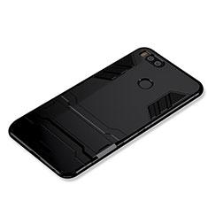 Silikon Hülle Handyhülle und Kunststoff Schutzhülle Tasche mit Ständer für Xiaomi Mi A1 Schwarz