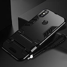 Silikon Hülle Handyhülle und Kunststoff Schutzhülle Tasche mit Ständer für Xiaomi Mi Mix 3 Schwarz