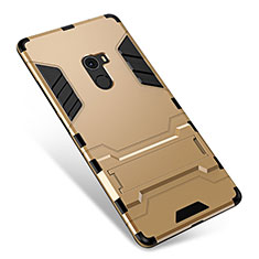 Silikon Hülle Handyhülle und Kunststoff Schutzhülle Tasche mit Ständer für Xiaomi Mi Mix Gold