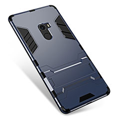 Silikon Hülle Handyhülle und Kunststoff Schutzhülle Tasche mit Ständer für Xiaomi Mi Mix Grau