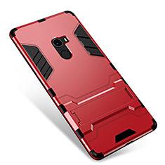 Silikon Hülle Handyhülle und Kunststoff Schutzhülle Tasche mit Ständer für Xiaomi Mi Mix Rot