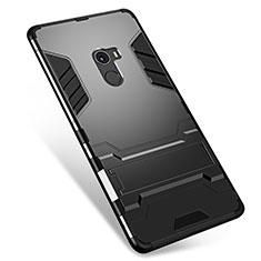Silikon Hülle Handyhülle und Kunststoff Schutzhülle Tasche mit Ständer für Xiaomi Mi Mix Schwarz