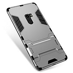 Silikon Hülle Handyhülle und Kunststoff Schutzhülle Tasche mit Ständer für Xiaomi Mi Mix Silber