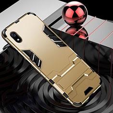 Silikon Hülle Handyhülle und Kunststoff Schutzhülle Tasche mit Ständer für Xiaomi Redmi 7A Gold