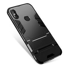 Silikon Hülle Handyhülle und Kunststoff Schutzhülle Tasche mit Ständer für Xiaomi Redmi Note 5 Pro Schwarz