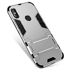 Silikon Hülle Handyhülle und Kunststoff Schutzhülle Tasche mit Ständer für Xiaomi Redmi Note 5 Pro Silber