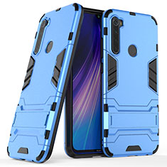 Silikon Hülle Handyhülle und Kunststoff Schutzhülle Tasche mit Ständer für Xiaomi Redmi Note 8 Blau