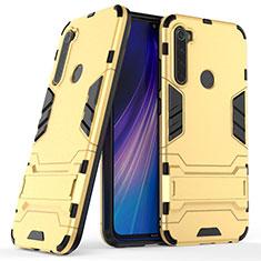 Silikon Hülle Handyhülle und Kunststoff Schutzhülle Tasche mit Ständer für Xiaomi Redmi Note 8 Gold