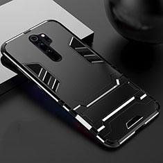 Silikon Hülle Handyhülle und Kunststoff Schutzhülle Tasche mit Ständer für Xiaomi Redmi Note 8 Pro Schwarz