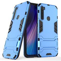 Silikon Hülle Handyhülle und Kunststoff Schutzhülle Tasche mit Ständer für Xiaomi Redmi Note 8T Blau