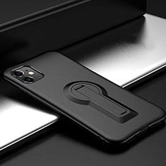 Silikon Hülle Handyhülle und Kunststoff Schutzhülle Tasche mit Ständer R01 für Apple iPhone 11 Schwarz