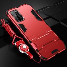 Silikon Hülle Handyhülle und Kunststoff Schutzhülle Tasche mit Ständer R01 für Huawei Honor 30 Lite 5G Rot