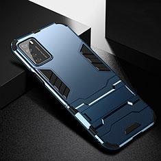 Silikon Hülle Handyhülle und Kunststoff Schutzhülle Tasche mit Ständer R01 für Huawei Honor Play4 5G Blau