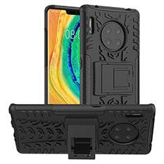 Silikon Hülle Handyhülle und Kunststoff Schutzhülle Tasche mit Ständer R01 für Huawei Mate 30E Pro 5G Schwarz