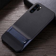 Silikon Hülle Handyhülle und Kunststoff Schutzhülle Tasche mit Ständer R01 für Huawei P30 Pro Blau