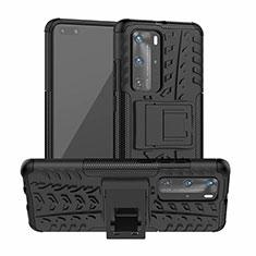 Silikon Hülle Handyhülle und Kunststoff Schutzhülle Tasche mit Ständer R01 für Huawei P40 Pro Schwarz