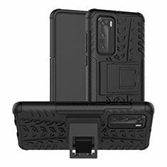 Silikon Hülle Handyhülle und Kunststoff Schutzhülle Tasche mit Ständer R01 für Huawei P40 Schwarz