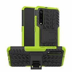 Silikon Hülle Handyhülle und Kunststoff Schutzhülle Tasche mit Ständer R01 für Samsung Galaxy A70S Grün