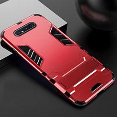 Silikon Hülle Handyhülle und Kunststoff Schutzhülle Tasche mit Ständer R01 für Samsung Galaxy A90 4G Rot