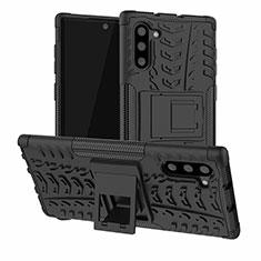 Silikon Hülle Handyhülle und Kunststoff Schutzhülle Tasche mit Ständer R01 für Samsung Galaxy Note 10 5G Schwarz