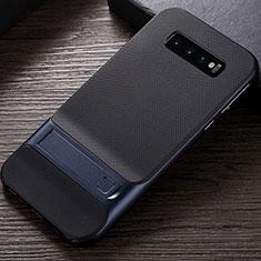 Silikon Hülle Handyhülle und Kunststoff Schutzhülle Tasche mit Ständer R01 für Samsung Galaxy S10 Blau