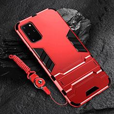 Silikon Hülle Handyhülle und Kunststoff Schutzhülle Tasche mit Ständer R01 für Samsung Galaxy S20 Plus Rot
