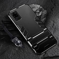 Silikon Hülle Handyhülle und Kunststoff Schutzhülle Tasche mit Ständer R01 für Samsung Galaxy S20 Ultra 5G Schwarz