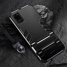 Silikon Hülle Handyhülle und Kunststoff Schutzhülle Tasche mit Ständer R01 für Samsung Galaxy S20 Ultra Schwarz