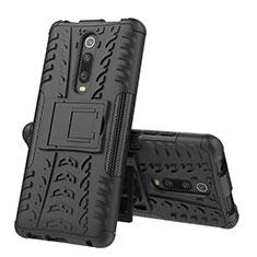 Silikon Hülle Handyhülle und Kunststoff Schutzhülle Tasche mit Ständer R01 für Xiaomi Mi 9T Pro Schwarz