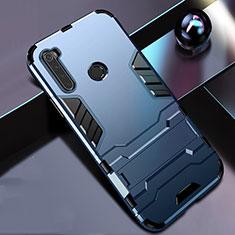 Silikon Hülle Handyhülle und Kunststoff Schutzhülle Tasche mit Ständer R01 für Xiaomi Redmi Note 8 Blau