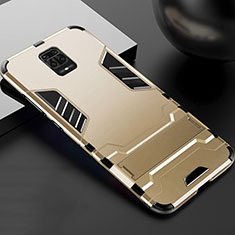 Silikon Hülle Handyhülle und Kunststoff Schutzhülle Tasche mit Ständer R01 für Xiaomi Redmi Note 9 Pro Gold