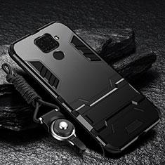 Silikon Hülle Handyhülle und Kunststoff Schutzhülle Tasche mit Ständer R01 für Xiaomi Redmi Note 9 Schwarz