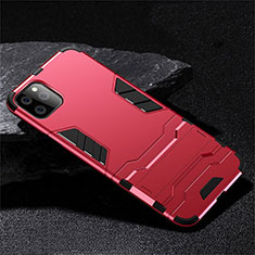 Silikon Hülle Handyhülle und Kunststoff Schutzhülle Tasche mit Ständer R02 für Apple iPhone 11 Pro Max Rot