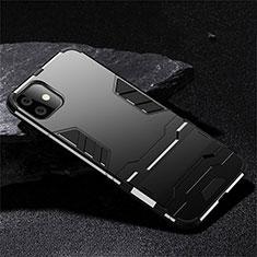 Silikon Hülle Handyhülle und Kunststoff Schutzhülle Tasche mit Ständer R02 für Apple iPhone 11 Schwarz