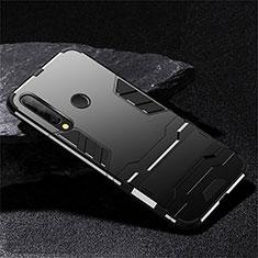 Silikon Hülle Handyhülle und Kunststoff Schutzhülle Tasche mit Ständer R02 für Huawei Honor 20 Lite Schwarz