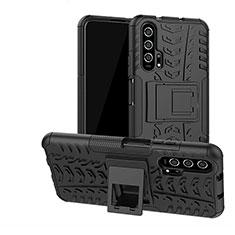 Silikon Hülle Handyhülle und Kunststoff Schutzhülle Tasche mit Ständer R02 für Huawei Honor 20 Pro Schwarz