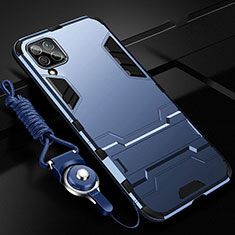 Silikon Hülle Handyhülle und Kunststoff Schutzhülle Tasche mit Ständer R02 für Huawei P40 Lite Blau