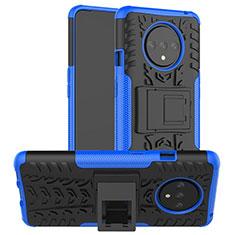 Silikon Hülle Handyhülle und Kunststoff Schutzhülle Tasche mit Ständer R02 für OnePlus 7T Blau