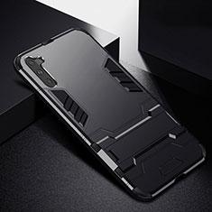 Silikon Hülle Handyhülle und Kunststoff Schutzhülle Tasche mit Ständer R02 für Samsung Galaxy Note 10 5G Schwarz