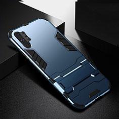 Silikon Hülle Handyhülle und Kunststoff Schutzhülle Tasche mit Ständer R02 für Samsung Galaxy Note 10 Plus 5G Blau