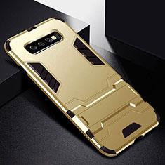 Silikon Hülle Handyhülle und Kunststoff Schutzhülle Tasche mit Ständer R02 für Samsung Galaxy S10 Gold