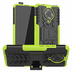 Silikon Hülle Handyhülle und Kunststoff Schutzhülle Tasche mit Ständer R02 für Xiaomi Poco F2 Pro Grün