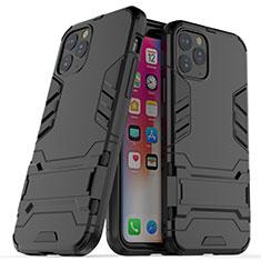 Silikon Hülle Handyhülle und Kunststoff Schutzhülle Tasche mit Ständer R03 für Apple iPhone 11 Pro Schwarz