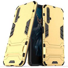 Silikon Hülle Handyhülle und Kunststoff Schutzhülle Tasche mit Ständer R03 für Huawei Honor 20 Gold